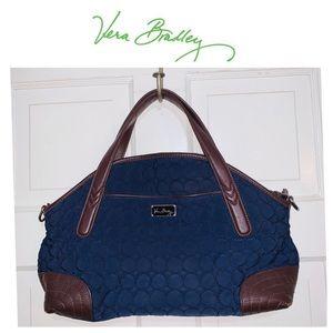 Vera Bradley Navy Blue Canvas & Brown Leather Bag